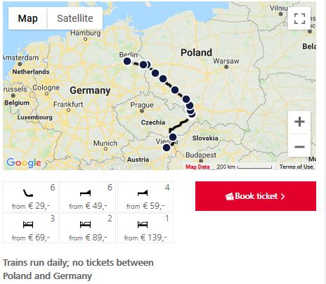 ナイトジェット ウィーン-ベルリン(地図)