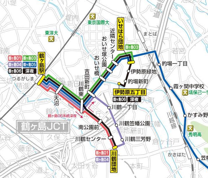 鶴ヶ島付近の路線(東武バス)