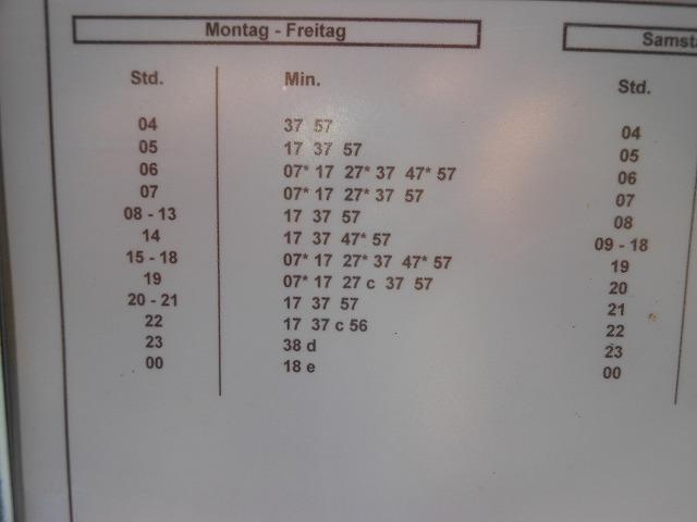 ラーンズドルフのトラム発車時刻表