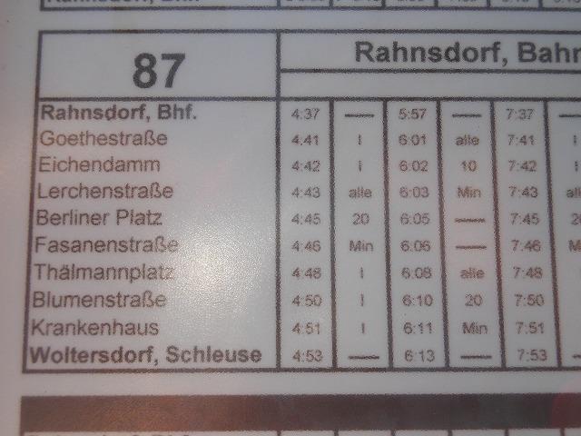 トラム87系統の全線時刻表