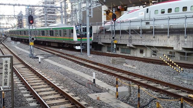 東京に到着する東海道線