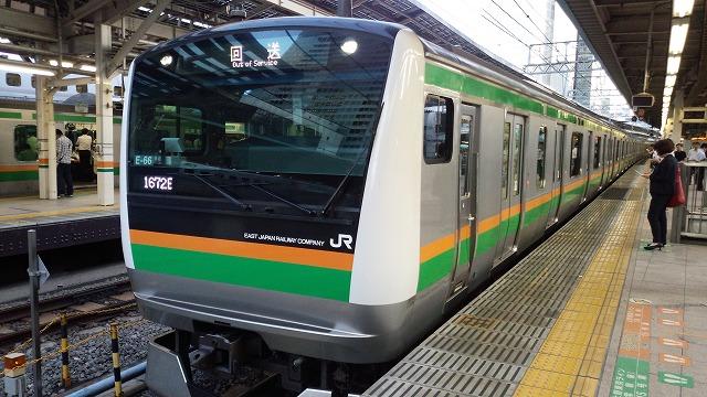 夕方の国府津→上野の回送