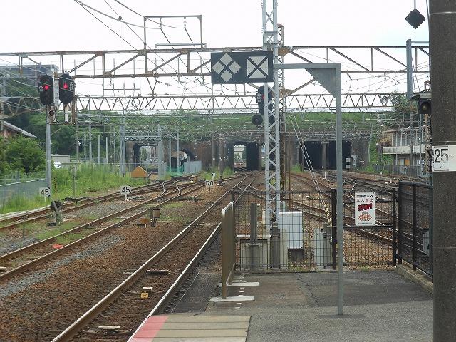 草津駅ホームから眺めた旧草津川