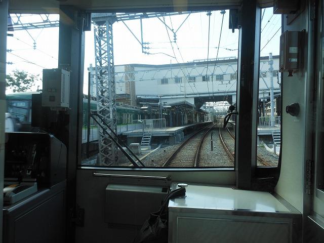 京阪前面展望:回送を追い抜く