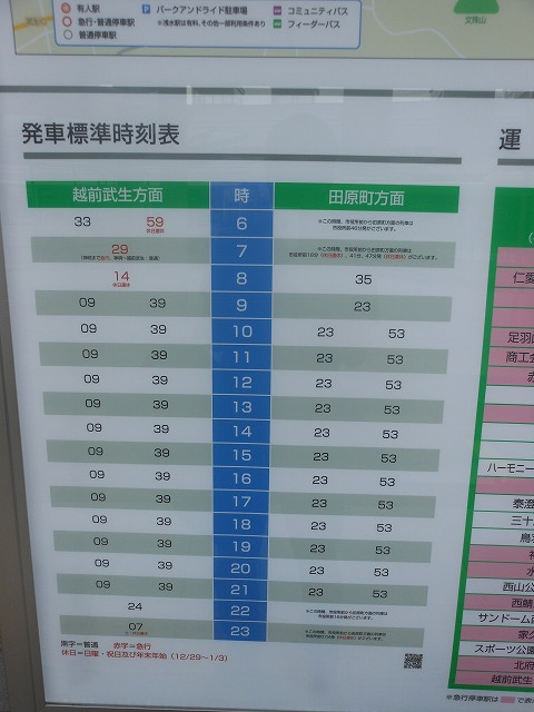 福井駅前の時刻表