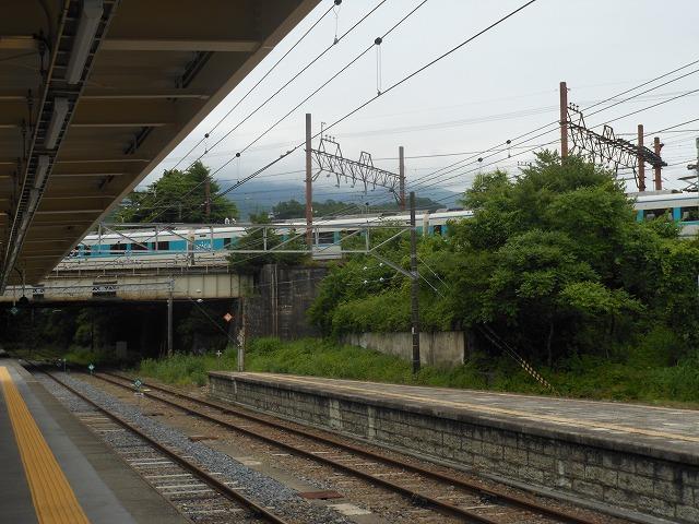 JR日光駅から眺める東武特急