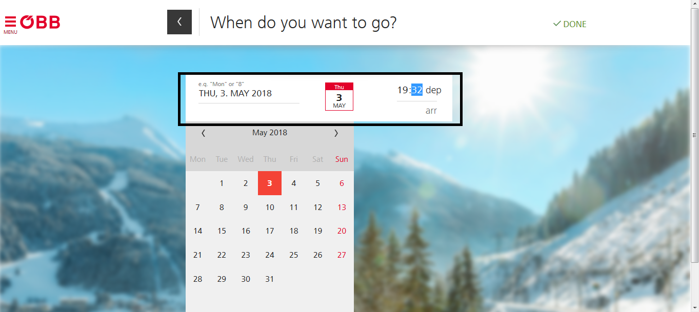 ナイトジェットに乗る日付を選択(降りる日じゃない))