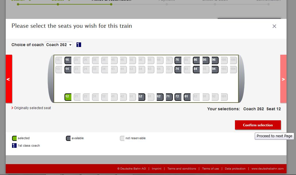 14. 座席の位置確認、指定した席は緑表示