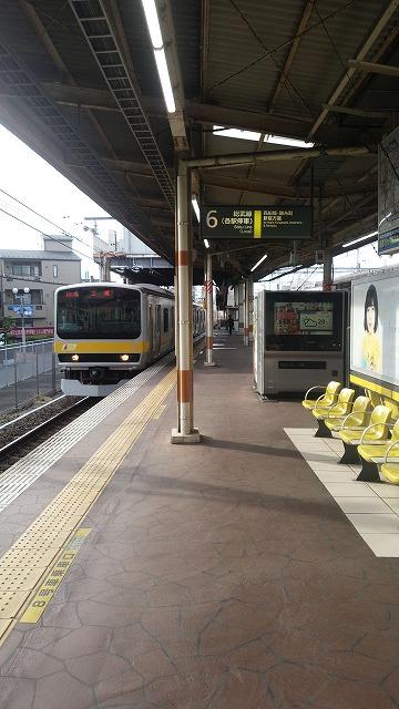 津田沼6番線に当駅始発が入線