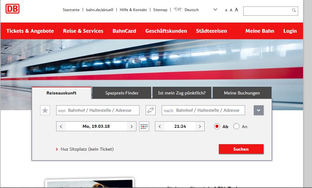 1. ドイツ鉄道のサイト