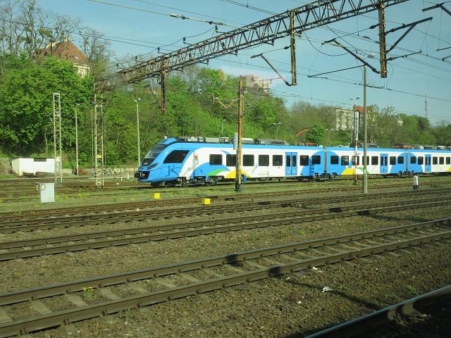 シュチェチン中央駅に並ぶ電車