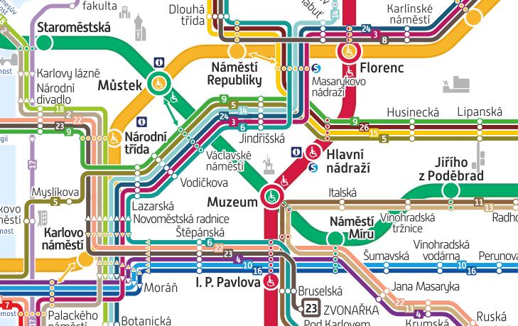 プラハのトラム路線図(抜粋)