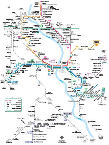 ケルン地区Sバーンの路線図