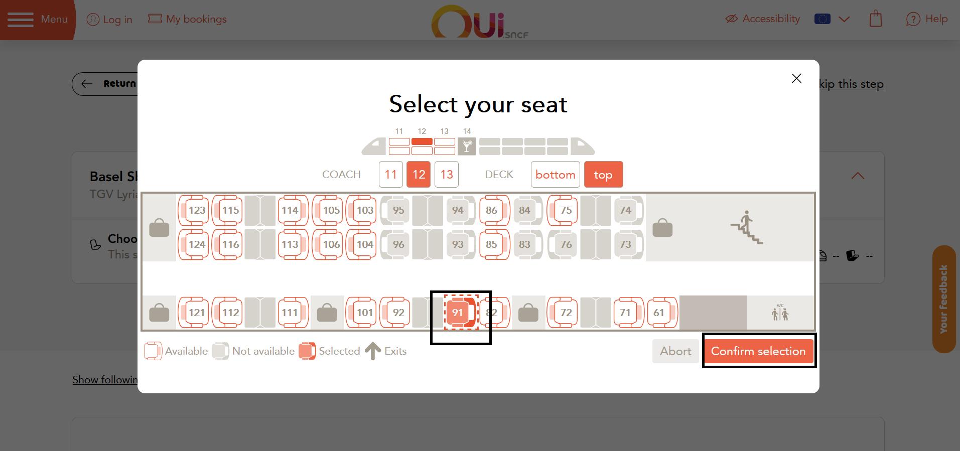 13. 適切な座席を選択