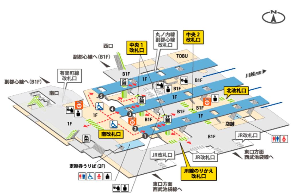 東上線池袋駅の構内図