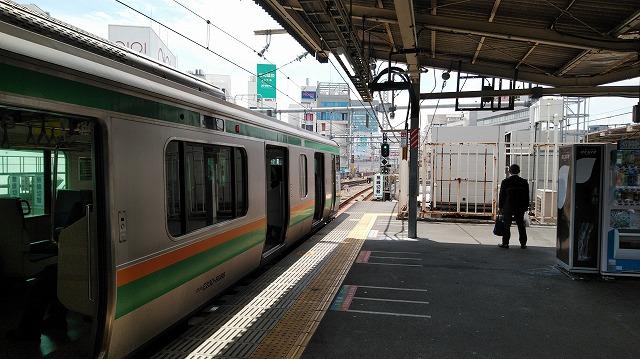 上野6番線から発車する上野東京ライン東京方面行き(E231系)