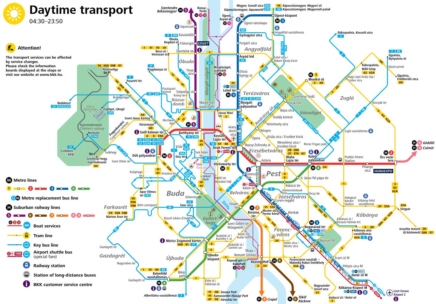 ブダペスト主要路線図