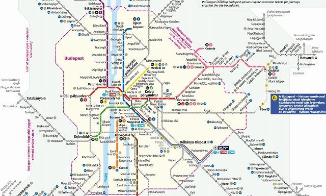 ブダペスト郊外の路線図