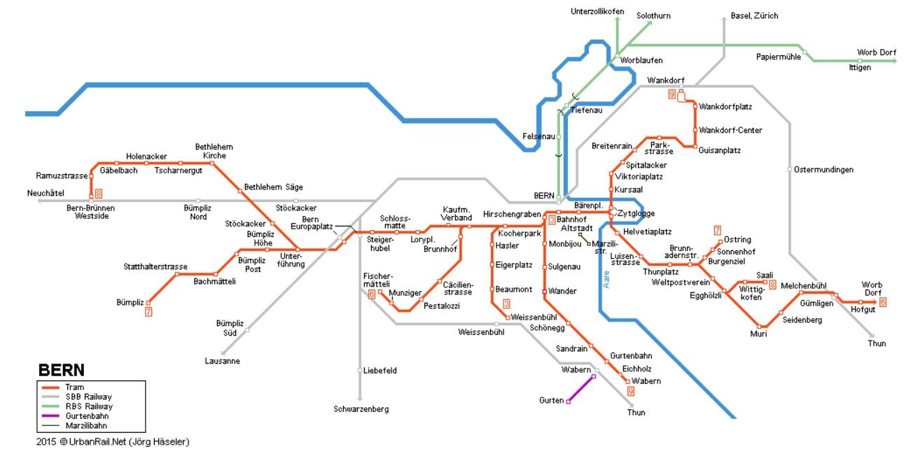 ベルンのトラム路線図