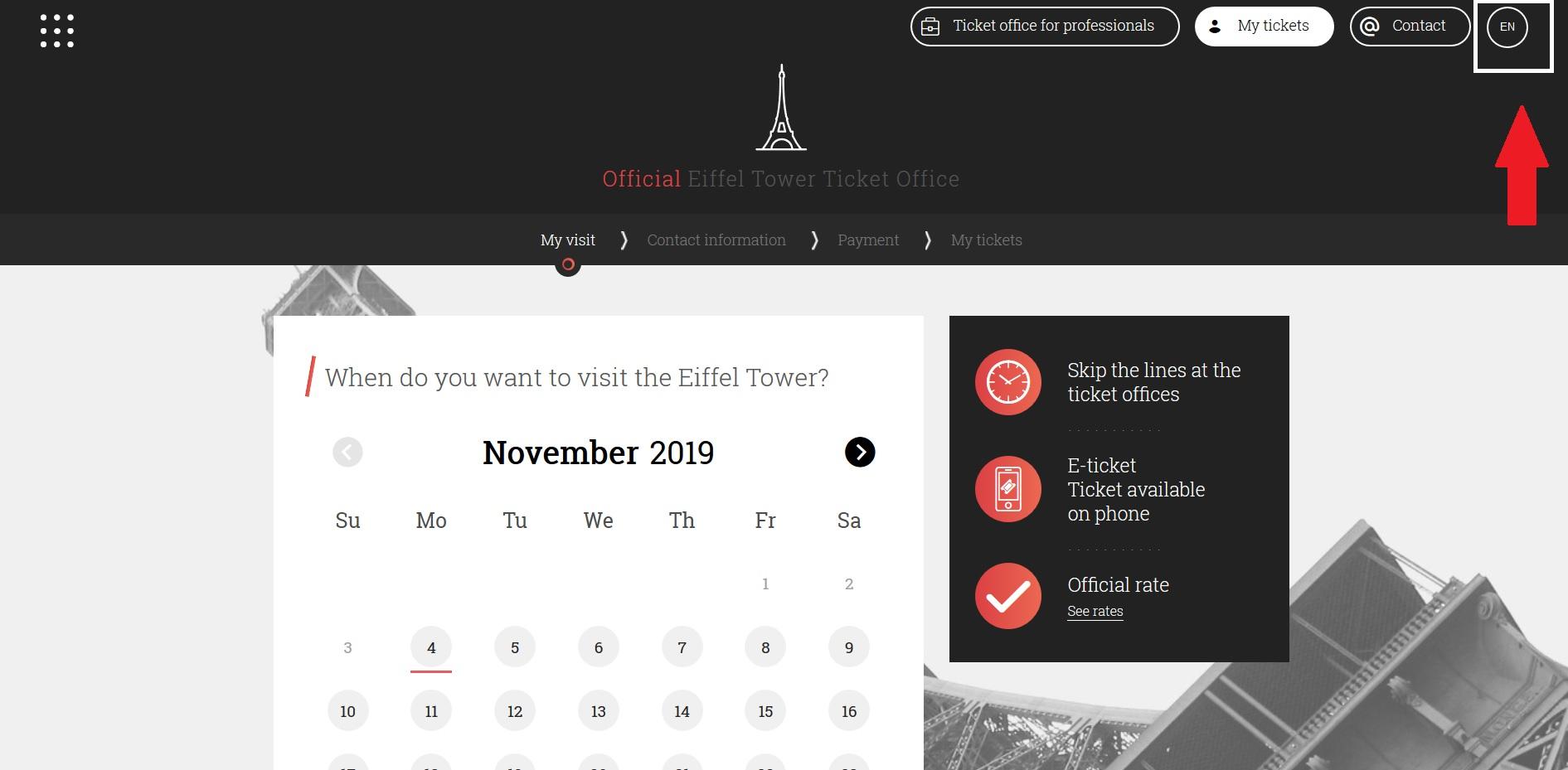 1) エッフェル塔の公式サイトトップページ