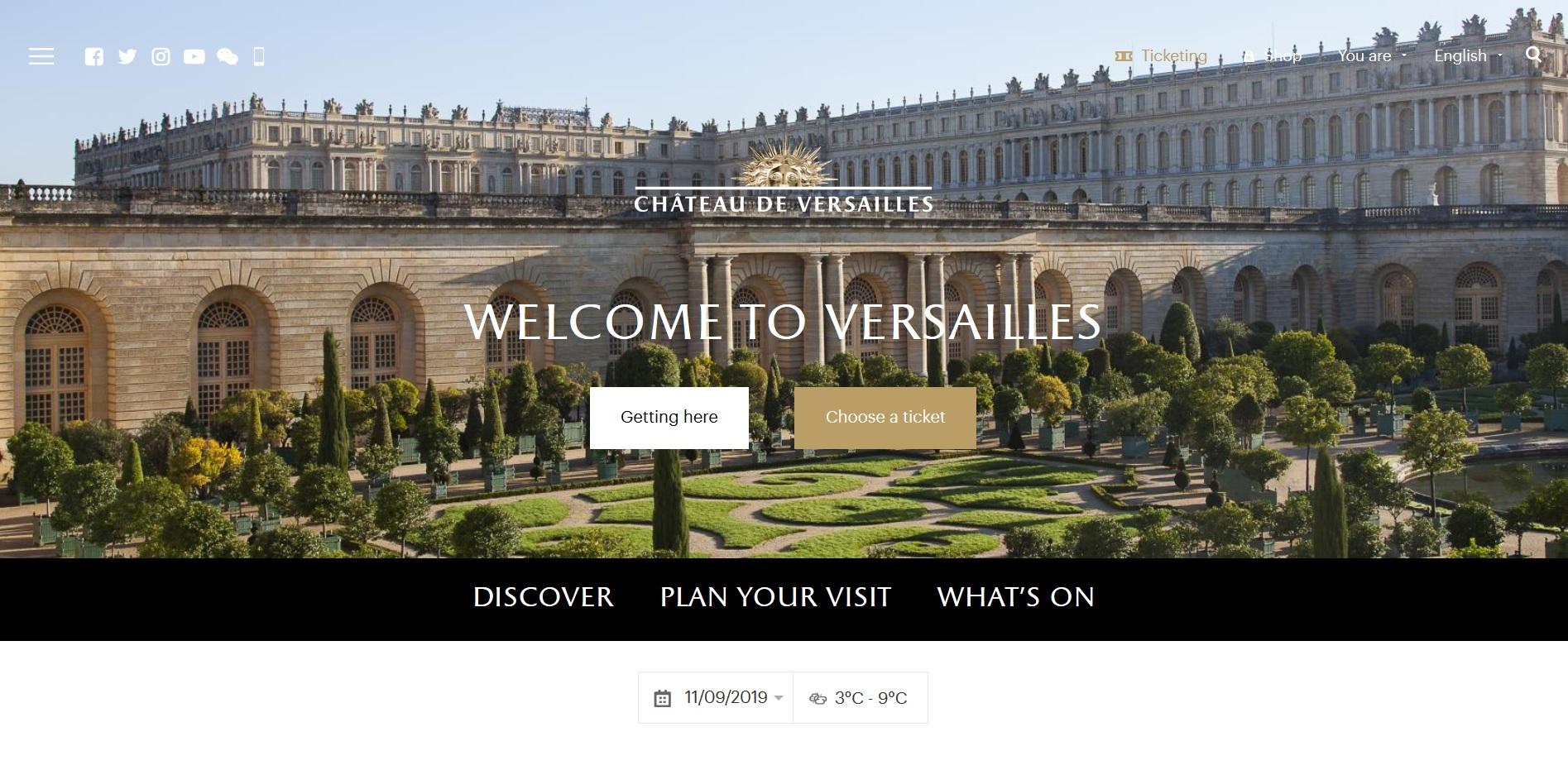 1) ベルサイユ宮殿の公式サイトを開く
