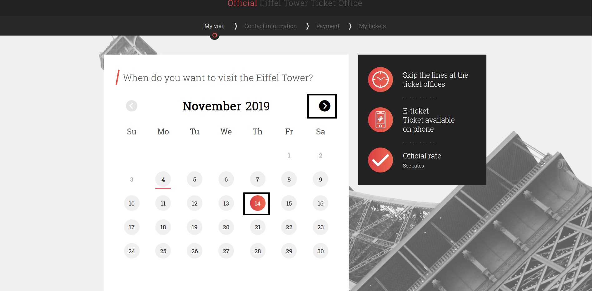 2) エッフェル塔を見学する日付を選択