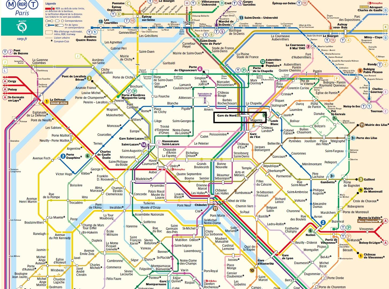 パリ北駅周辺の路線図