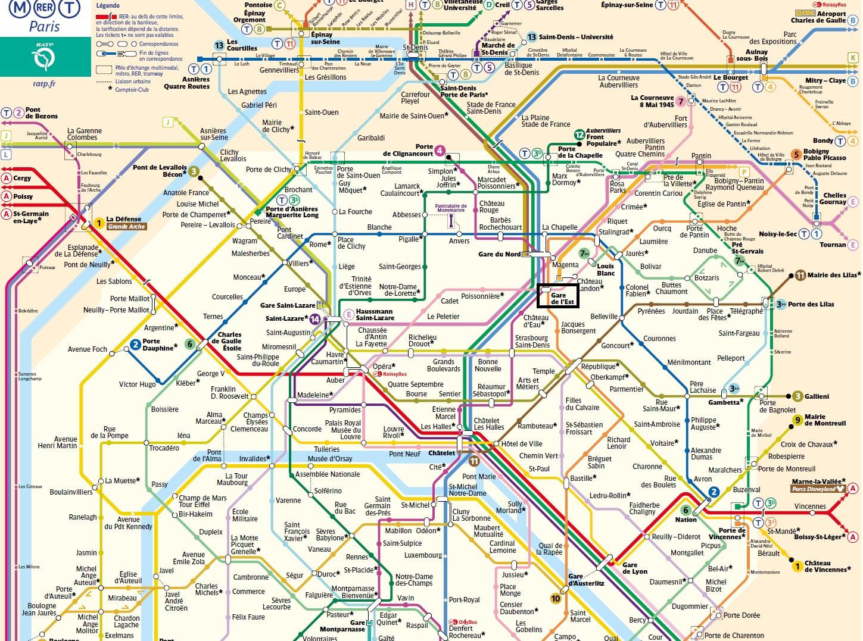 パリ東駅周辺の路線図