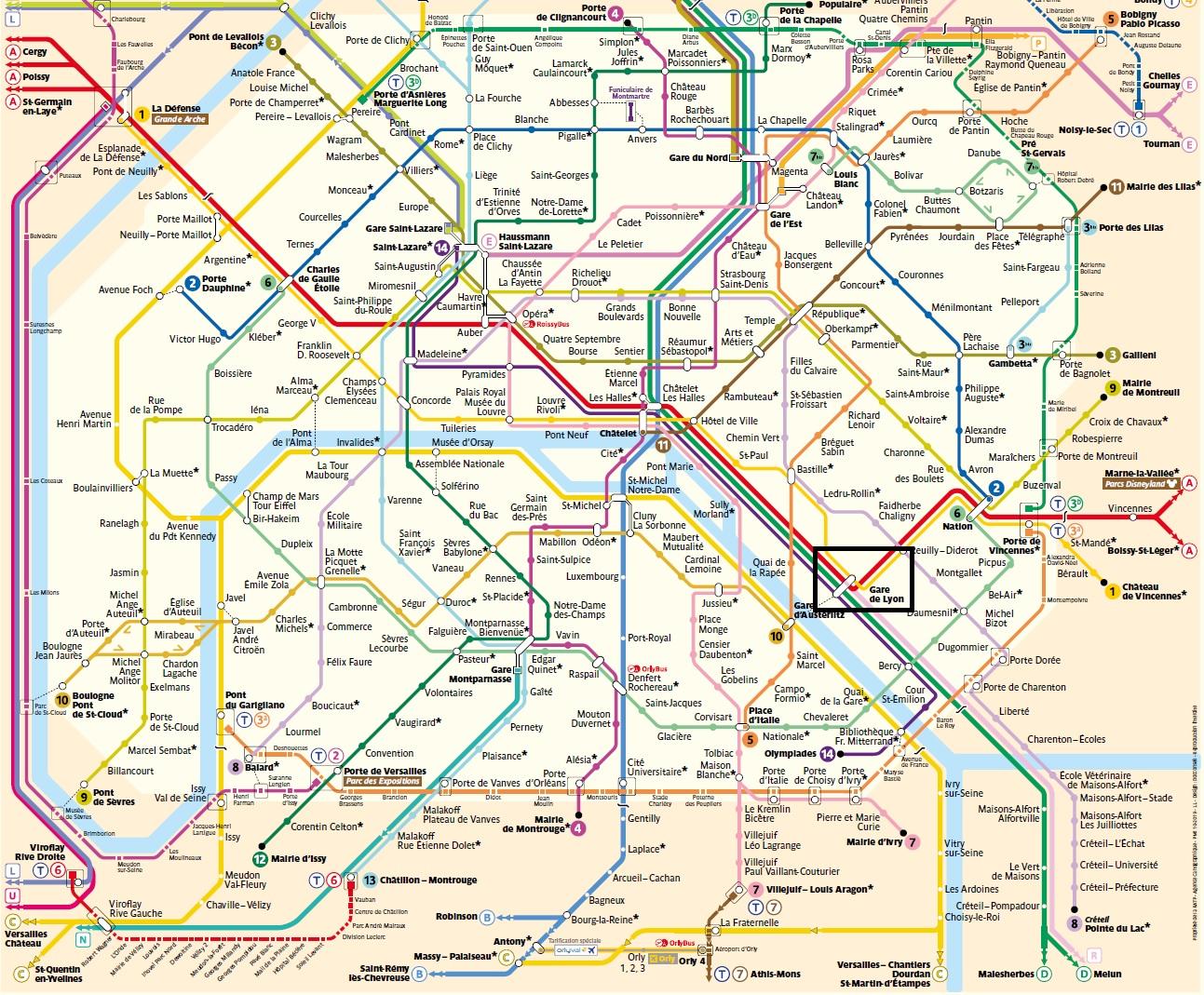 リヨン付近の路線図