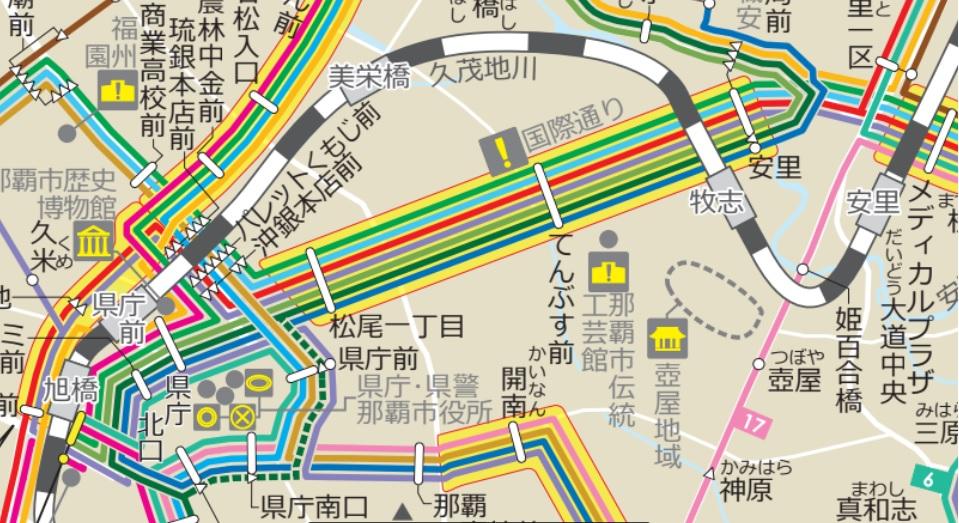 国際通りのバス停(市内線)