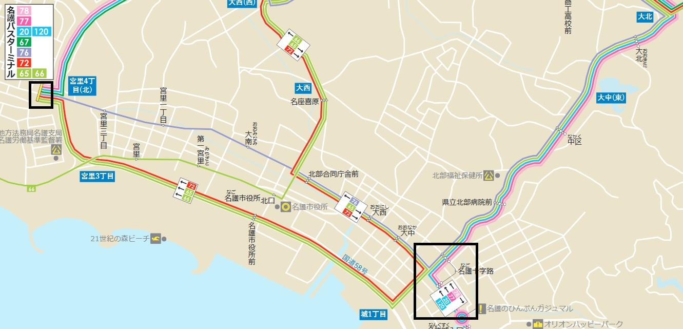 名護市内のバス路線図
