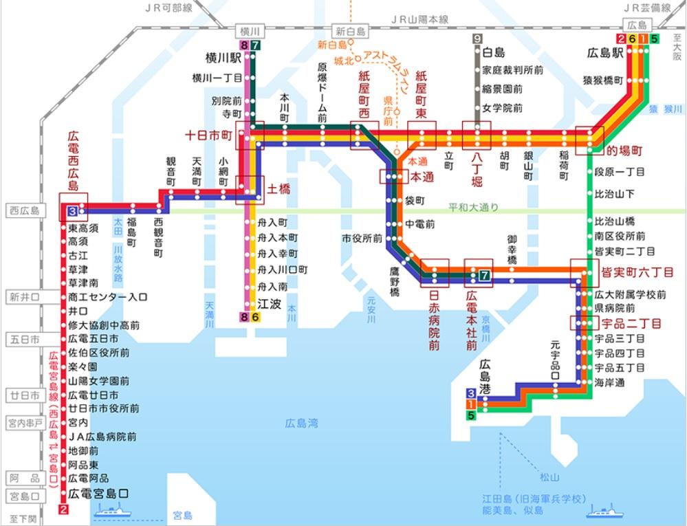 広島電鉄の路線図